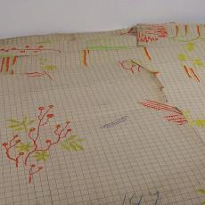 Patroontekening voor trijp met florale motieven - Eindhovensche Trijpfabrieken Schellens & Marto, Textielmuseum (registratiefoto), Textielmuseum (registratiefoto)