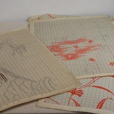 Patroontekening voor trijp met diverse florale motieven - Textielmuseum (registratiefoto), Textielmuseum (registratiefoto), Textielmuseum (registratiefoto), Eindhovensche Trijpfabrieken Schellens & Marto, Textielmuseum (registratiefoto), Textielmuseum (registratiefoto)