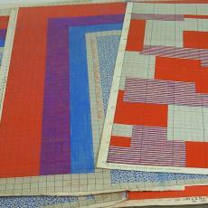 Patroontekening voor trijp met blokpatroon - Eindhovensche Trijpfabrieken Schellens & Marto, Textielmuseum (registratiefoto)