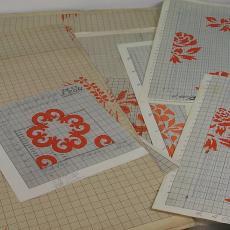 Patroontekening voor trijp met voornamelijk bloemmotieven - Eindhovensche Trijpfabrieken Schellens & Marto, Textielmuseum (registratiefoto), Textielmuseum (registratiefoto)