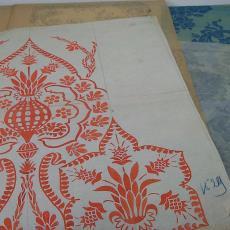 Ontwerptekening voor trijp met bloemmotieven - Textielmuseum (registratiefoto), Eindhovensche Trijpfabrieken Schellens & Marto