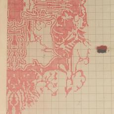 Patroontekening 'Artisjok' met garenmonster - Koninklijke Deventer Tapijtfabriek (Deventer), Th.A.C. Colenbrander