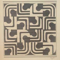 Ontwerp met zeventiger jaren zwart-wit dessin - Koninklijke Vereenigde Tapijtfabrieken (Deventer), Textielmuseum (registratiefoto), G.G. de Keizer