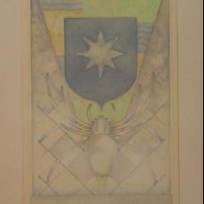 Ontwerp vloerkleed met spin en wapenschild - Textielmuseum (registratiefoto), Koninklijke Vereenigde Tapijtfabrieken (Deventer), Adrianus (Marie) van der Plas (toegeschreven)