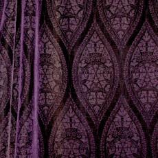 Gordijn 'Bremrandje' van paars velours frisée met motief van spitsovalen - Lange, Tommy de, Textielmuseum (registratiefoto), Textielmuseum (registratiefoto), Theodoor Nieuwenhuis, Hengelosche Trijpweverij
