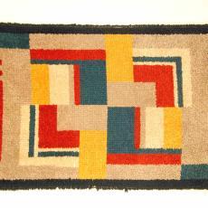 Rechthoekig kleedje met blokken en strepen en zwarte rand - Textielmuseum (registratiefoto), Jaap Gidding (?), Weefatelier Elisabeth de Saedeleer (?)