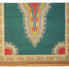 Donkergroene industriële batik met sigarenbandpatroon (dessin 2961 R) - Textielmuseum (registratiefoto), Vlisco (Helmond)