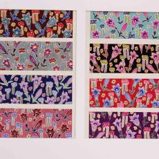 Textielontwerp met bloemen in verschillende kleurstellingen - Textielmuseum (registratiefoto), Ben Schurink