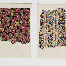 Ontwerp met bloem-/bladmotief - Textielmuseum (registratiefoto), Ben Schurink