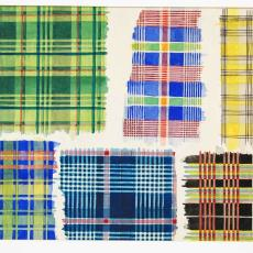 Ontwerptekening voor geruit tafellaken in verschillende kleurstellingen - Textielmuseum (registratiefoto), Ben Schurink, Textielmuseum (registratiefoto)