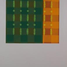 Ontwerptekening voor geblokt tafellaken met bloem-ornament - Textielmuseum (registratiefoto), Ben Schurink