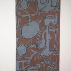 Sjaal met geabstraheerde gezichten - H. van Kruiningen, Textielmuseum (registratiefoto)