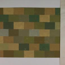 Ontwerptekening en kleurproeven voor een tapijt - Textielmuseum (registratiefoto), Koninklijke Vereenigde Tapijtfabrieken (Moordrecht/Deventer), J. Polak