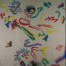 Sjaal, gebatikt - Philip Boas, Batikatelier Java, Textielmuseum (registratiefoto)