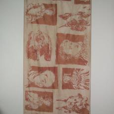 Gordijnstof, tweezijdig bedrukt met dessin van portet en hond - Erwin Keen, Textielmuseum (registratiefoto)