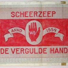 Patroontekening handdoek 'Scheerzeep De Vergulde Hand 1554-1954' - Textielmuseum (registratiefoto), W.J. van Hoogerwou & Zn. (Boxtel)