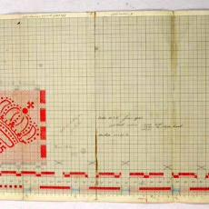 Patroontekening (droog)doek (?) 'Glasruit met kroon' - W.J. van Hoogerwou & Zn. (Boxtel), Textielmuseum (registratiefoto)