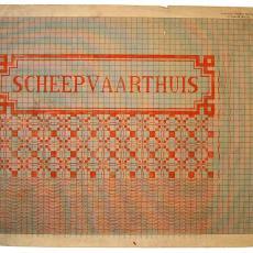 Patroontekening voor droogdoek (?) met pellenpatroon en naam 'Scheepvaarthuis' - W.J. van Hoogerwou & Zn. (Boxtel), Textielmuseum (registratiefoto)