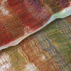 Textielontwerp met koper en polyester (lurex) - Irene van Vliet, Textielmuseum (registratiefoto)