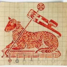 Patroontekening 'Lam Gods' - Linnenfabriek Wed. J. van Nuenen & Zoon (Zeelst / Meerveldhoven), Textielmuseum (registratiefoto)