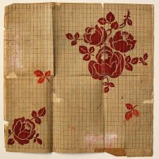 Patroontekening servet 'Roos met fantasierand' (no. 302) - Linnenfabriek Wed. J. van Nuenen & Zoon (Zeelst / Meerveldhoven), Textielmuseum (registratiefoto), Textielmuseum (registratiefoto), Textielmuseum (registratiefoto)