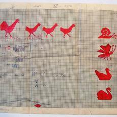 Patroontekening voor tafelgoed met verschillende dieren - Linnenfabriek Wed. J. van Nuenen & Zoon (Zeelst / Meerveldhoven), Textielmuseum (registratiefoto)