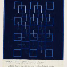 Ontwerp voor tafellaken met geborduurde vierkanten - Gebr. Stork & Co. (Hengelo), Ben Schurink, Textielmuseum (registratiefoto)