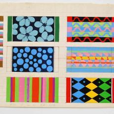 Zeven ontwerpen voor gekleurde badhanddoeken - Textielmuseum (registratiefoto), Ben Schurink, Gebr. Stork & Co. (Hengelo)