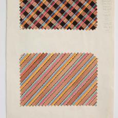 Twee ontwerpen voor gestreepte tafellakens in bruin-tinten - Textielmuseum (registratiefoto), Gebr. Stork & Co. (Hengelo), Ben Schurink