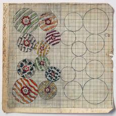 Patroontekening van 225x225 cm voor geknoopt smyrna tapijt 'Creation' - Ben Schurink, Textielmuseum (registratiefoto)