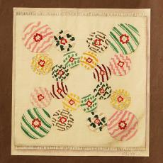Ontwerptekening voor geknoopt smyrna tapijt 'Creation' - Ben Schurink, Textielmuseum (registratiefoto)