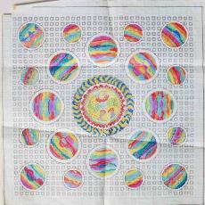 'Universum', patroon voor een geknoopt tapijt - Ben Schurink, Textielmuseum (registratiefoto)