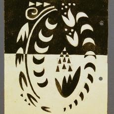 Ontwerp beddensprei in zwart-wit - Textielmuseum (registratiefoto), De Gouden Spin (Leiden), Ria van Oerle-van Gorp