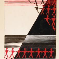 Ontwerp voor beddensprei met driehoeken en gestileerde figuren - Textielmuseum (registratiefoto), Ria van Oerle-van Gorp, De Gouden Spin (Leiden)