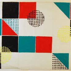 Ontwerp beddensprei met blokken, driehoeken en cirkels - Textielmuseum (registratiefoto), Ria van Oerle-van Gorp, De Gouden Spin (Leiden)