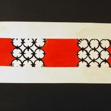 Ontwerp beddensprei met cirkelmotieven - Ria van Oerle-van Gorp, Textielmuseum (registratiefoto), De Gouden Spin (Leiden)