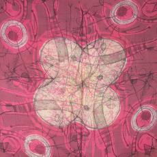 Sjaal met schilderachtige motieven als ogen, vissen en bladmotieven - H. van Kruiningen, Textielmuseum (registratiefoto)