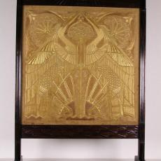 Vuurscherm met geborduurde reigers in Art Nouveau-stijl - Atelier voor Decoratieve Kunst 'Het Huis', J. B. Kamp (Ben), Dina Delcourt