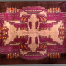 Vloerkleed (5014 Silma) in Amsterdamse School-stijl - Jaap Gidding, Koninklijke Vereenigde Tapijtfabrieken (Deventer), Textielmuseum (Joep Vogels), Textielmuseum (registratiefoto), Textielmuseum (Joep Vogels), Textielmuseum (registratiefoto)