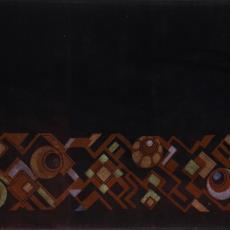 Schoorsteenkleed met abstract-geometrische motieven in art-decostijl - onbekend, Textielmuseum (registratiefoto)