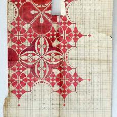 Patroontekening 'Het Segment' (dessinnr. 66), vloerkleed in art-nouveaustijl - C.J. van der Hoef, H.J. Mechanische Tapijtweverij Peters (Deventer), Textielmuseum (registratiefoto)