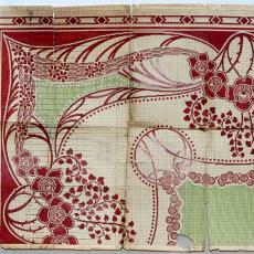 Patroontekening 'Bloemperk' (dessinnr. 53) voor tapijt in art-nouveaustijl - H.J. Mechanische Tapijtweverij Peters (Deventer), Textielmuseum (registratiefoto), Gebr. Pilters