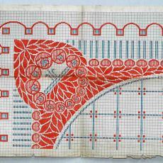 Patroontekening 'Peer' (dessinnr. 58) voor vloerkleed in art-nouveaustijl - H.J. Mechanische Tapijtweverij Peters (Deventer), Kunstgewerbe Atelier P. Kappertz (Krefeld), Textielmuseum (registratiefoto)