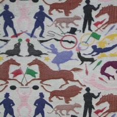 Proefstalen voor het buitendoek van een circustent - Studio Job, Textielmuseum (registratiefoto), Textielmuseum (registratiefoto), Textielmuseum (registratiefoto), Nederlands Textielmuseum, Textielmuseum (registratiefoto), Textielmuseum (registratiefoto)