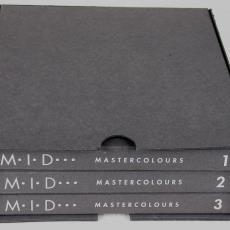 Cassette met drie stalenboeken 'Mastercolours' - Textielmuseum (registratiefoto), Moquette Industrie Deventer (MID), Textielmuseum (registratiefoto), Ulf Moritz, Janny Wissink, Textielmuseum (registratiefoto)