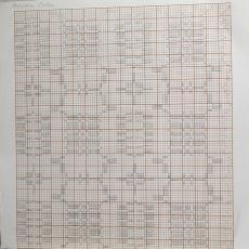 Patroontekening voor droogdoek of tafelkleed - Kitty van der Mijll Dekker (Fischer-), Handweverij en Ontwerpatelier K. v.d. Mijll Dekker (Nunspeet), Textielmuseum (registratiefoto)