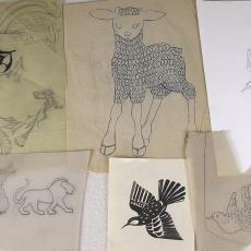 Schetsen voor details van tafelgoed - Kitty van der Mijll Dekker (Fischer-), Handweverij en Ontwerpatelier K. v.d. Mijll Dekker (Nunspeet), Textielmuseum (registratiefoto)