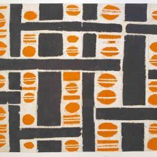 Ontwerp voor gordijnstof in jaren vijftig-stijl - J. Elias Textielfabrieken (Eindhoven), Anton Vollebergh, Textielmuseum (registratiefoto), Textielmuseum (registratiefoto)