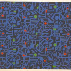 Ontwerp voor gordijnstof met abstract motief - Anton Vollebergh (toegeschreven), Textielmuseum (registratiefoto), J. Elias Textielfabrieken (Eindhoven)