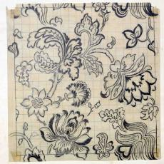 Ontwerp voor gordijnstof met bloemenpatroon - J. Elias Textielfabrieken (Eindhoven), Textielmuseum (registratiefoto)